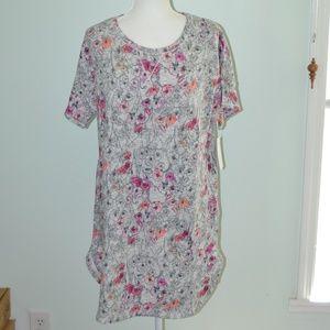Kensie Gray Floral Sweatshirt Sleepshirt